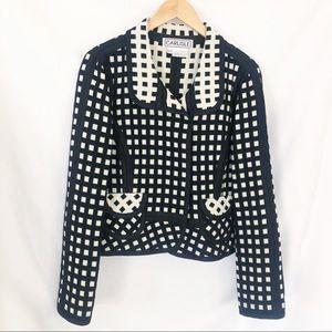 Carlisle wool black ivory check blazer jacket 10